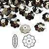 Bead, Swarovski crystal, Crystal Passions®, crystal bronze shade, foil back, 10x3.5mm faceted marguerite lochrose flower (3700). Sold per pkg of 12.