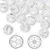 Bead, Swarovski crystal, Crystal Passions®, crystal clear, 8mm faceted round (5000). Sold per pkg of 144 (1 gross).