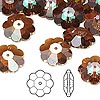 Bead, Swarovski crystal, Crystal Passions®, crystal copper, 14x5mm faceted marguerite lochrose flower (3700). Sold per pkg of 12.