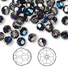 Bead, Swarovski crystal, Crystal Passions®, crystal metallic blue, 6mm faceted round (5000). Sold per pkg of 144 (1 gross).