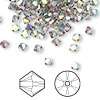 Bead, Swarovski crystal, Crystal Passions®, crystal satin AB, 4mm Xilion bicone (5328). Sold per pkg of 144 (1 gross).