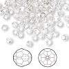 Bead, Swarovski crystal, Crystal Passions®, crystal silver shade, 4mm faceted round (5000). Sold per pkg of 144 (1 gross).