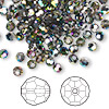 Bead, Swarovski crystal, Crystal Passions®, crystal vitrail medium, 4mm faceted round (5000). Sold per pkg of 144 (1 gross).
