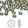 Bead, Swarovski crystal, Crystal Passions®, crystal vitrail medium, 6x2mm faceted marguerite lochrose flower (3700). Sold per pkg of 12.