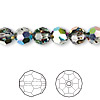 Bead, Swarovski crystal, Crystal Passions®, crystal vitrail medium, 8mm faceted round (5000). Sold per pkg of 12.
