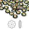 Bead, Swarovski crystal, Crystal Passions®, crystal vitrail medium, 8x3mm faceted marguerite lochrose flower (3700). Sold per pkg of 12.