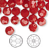 Bead, Swarovski crystal, Crystal Passions®, dark red coral, 8mm faceted round (5000). Sold per pkg of 144 (1 gross).