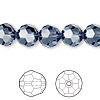 Bead, Swarovski crystal, Crystal Passions®, denim blue, 10mm faceted round (5000). Sold per pkg of 2.
