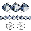 Bead, Swarovski crystal, Crystal Passions®, denim blue, 6mm Xilion bicone (5328). Sold per pkg of 144 (1 gross).