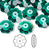 Bead, Swarovski crystal, Crystal Passions®, emerald, 14x5mm faceted marguerite lochrose flower (3700). Sold per pkg of 144 (1 gross).