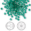Bead, Swarovski crystal, Crystal Passions®, emerald, 3mm faceted round (5000). Sold per pkg of 144 (1 gross).