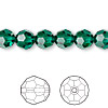 Bead, Swarovski crystal, Crystal Passions®, emerald, 8mm faceted round (5000). Sold per pkg of 12.