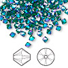 Bead, Swarovski crystal, Crystal Passions®, emerald AB2X, 4mm Xilion bicone (5328). Sold per pkg of 144 (1 gross).