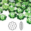 Bead, Swarovski crystal, Crystal Passions®, fern green, 12x4mm faceted marguerite lochrose flower (3700). Sold per pkg of 144 (1 gross).