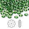 Bead, Swarovski crystal, Crystal Passions®, fern green, 6x2mm faceted marguerite lochrose flower (3700). Sold per pkg of 144 (1 gross).