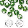Bead, Swarovski crystal, Crystal Passions®, fern green, 8mm faceted round (5000). Sold per pkg of 144 (1 gross).