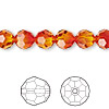 Bead, Swarovski crystal, Crystal Passions®, fireopal, 8mm faceted round (5000). Sold per pkg of 12.