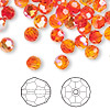 Bead, Swarovski crystal, Crystal Passions®, fireopal AB, 6mm faceted round (5000). Sold per pkg of 144 (1 gross).