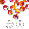 Bead, Swarovski crystal, Crystal Passions®, fireopal AB, 8mm faceted round (5000). Sold per pkg of 12.