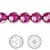Bead, Swarovski crystal, Crystal Passions®, fuchsia, 10mm faceted round (5000). Sold per pkg of 24.