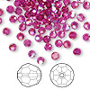 Bead, Swarovski crystal, Crystal Passions®, fuchsia AB, 4mm faceted round (5000). Sold per pkg of 144 (1 gross).