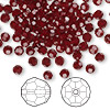 Bead, Swarovski crystal, Crystal Passions®, garnet, 4mm faceted round (5000). Sold per pkg of 144 (1 gross).