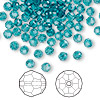 Bead, Swarovski crystal, Crystal Passions®, indicolite, 4mm faceted round (5000). Sold per pkg of 144 (1 gross).