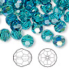 Bead, Swarovski crystal, Crystal Passions®, indicolite AB, 8mm faceted round (5000). Sold per pkg of 144 (1 gross).