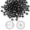 Bead, Swarovski crystal, Crystal Passions®, jet, 3mm faceted round (5000). Sold per pkg of 144 (1 gross).