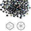Bead, Swarovski crystal, Crystal Passions®, jet AB, 3mm Xilion bicone (5328). Sold per pkg of 144 (1 gross).