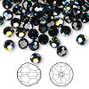 Bead, Swarovski crystal, Crystal Passions®, jet AB, 8mm faceted round (5000). Sold per pkg of 144 (1 gross).