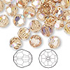 Bead, Swarovski crystal, Crystal Passions®, light Colorado topaz AB, 8mm faceted round (5000). Sold per pkg of 144 (1 gross).