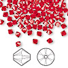 Bead, Swarovski crystal, Crystal Passions®, light Siam, 4mm Xilion bicone (5328). Sold per pkg of 144 (1 gross).