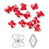 Bead, Swarovski crystal, Crystal Passions®, light Siam, 6x5mm faceted butterfly (5754). Sold per pkg of 12.