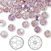 Bead, Swarovski crystal, Crystal Passions®, light amethyst AB, 6mm faceted round (5000). Sold per pkg of 144 (1 gross).