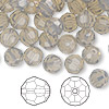 Bead, Swarovski crystal, Crystal Passions®, light grey opal, 8mm faceted round (5000). Sold per pkg of 144 (1 gross).