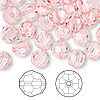 Bead, Swarovski crystal, Crystal Passions®, light rose, 8mm faceted round (5000). Sold per pkg of 144 (1 gross).