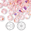 Bead, Swarovski crystal, Crystal Passions®, light rose AB, 8mm faceted round (5000). Sold per pkg of 144 (1 gross).