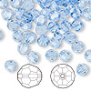 Bead, Swarovski crystal, Crystal Passions®, light sapphire, 6mm faceted round (5000). Sold per pkg of 144 (1 gross).