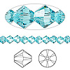 Bead, Swarovski crystal, Crystal Passions®, light turquoise, 5mm Xilion bicone (5328). Sold per pkg of 144 (1 gross).