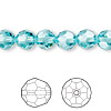 Bead, Swarovski crystal, Crystal Passions®, light turquoise, 8mm faceted round (5000). Sold per pkg of 144 (1 gross).