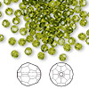 Bead, Swarovski crystal, Crystal Passions®, olivine, 4mm faceted round (5000). Sold per pkg of 144 (1 gross).