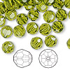 Bead, Swarovski crystal, Crystal Passions®, olivine, 8mm faceted round (5000). Sold per pkg of 144 (1 gross).