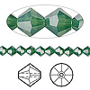 Bead, Swarovski crystal, Crystal Passions®, palace green opal, 5mm faceted bicone (5301). Sold per pkg of 24.