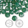 Bead, Swarovski crystal, Crystal Passions®, palace green opal, 8mm faceted round (5000). Sold per pkg of 144 (1 gross).