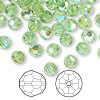 Bead, Swarovski crystal, Crystal Passions®, peridot AB, 6mm faceted round (5000). Sold per pkg of 144 (1 gross).