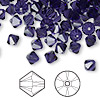Bead, Swarovski crystal, Crystal Passions®, purple velvet, 6mm Xilion bicone (5328). Sold per pkg of 144 (1 gross).