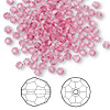 Bead, Swarovski crystal, Crystal Passions®, rose, 3mm faceted round (5000). Sold per pkg of 144 (1 gross).