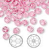 Bead, Swarovski crystal, Crystal Passions®, rose, 6mm faceted round (5000). Sold per pkg of 144 (1 gross).