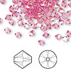 Bead, Swarovski crystal, Crystal Passions®, rose AB, 4mm Xilion bicone (5328). Sold per pkg of 144 (1 gross).